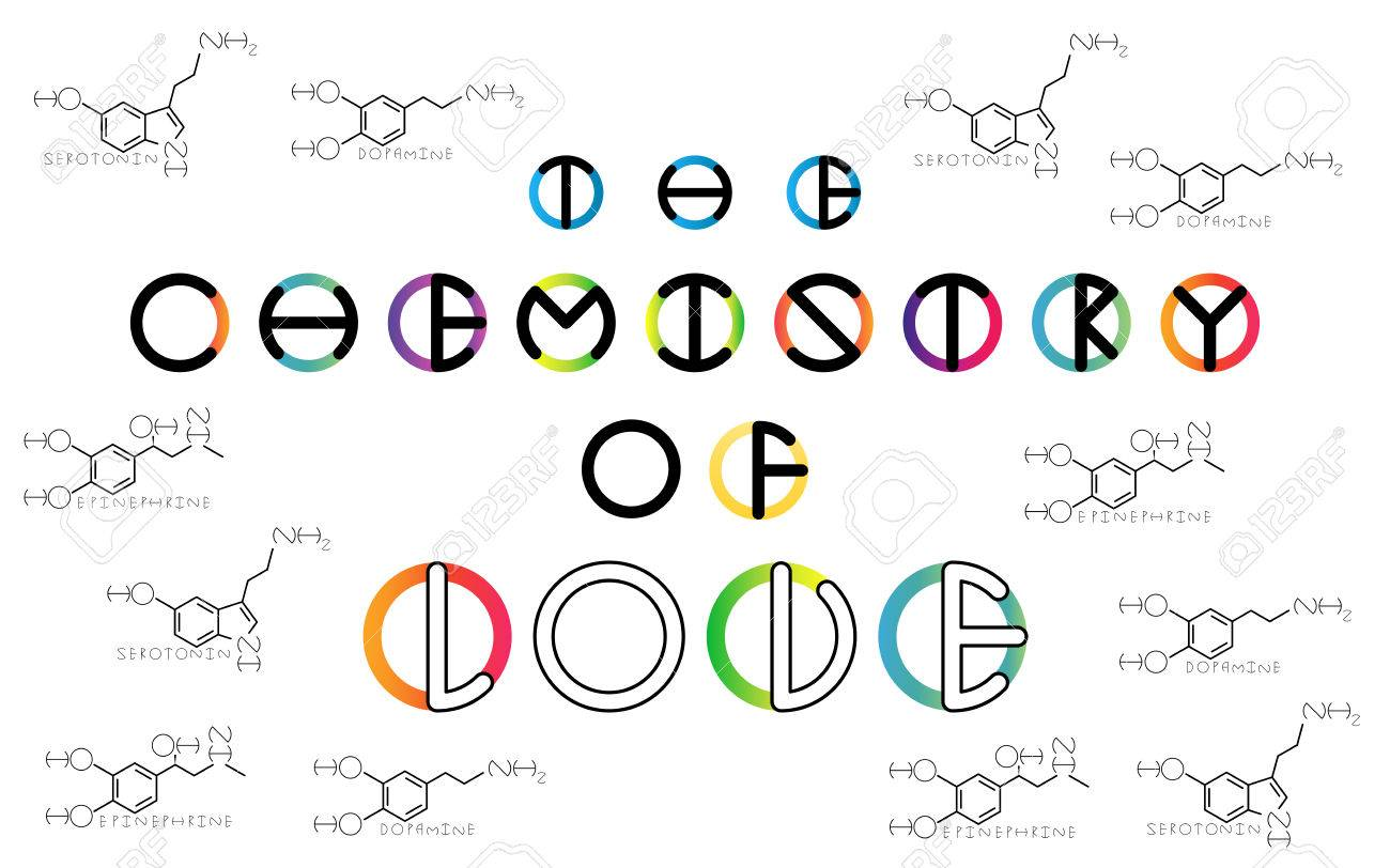 the chemistry of love flat color transition vector lettering