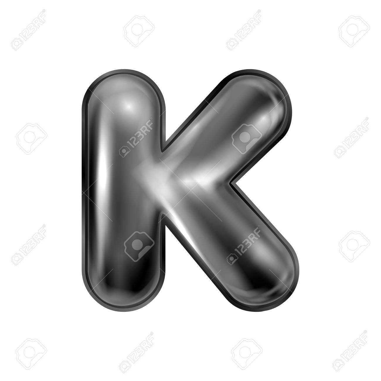 Black latex inflated alphabet symbol, isolated letter K