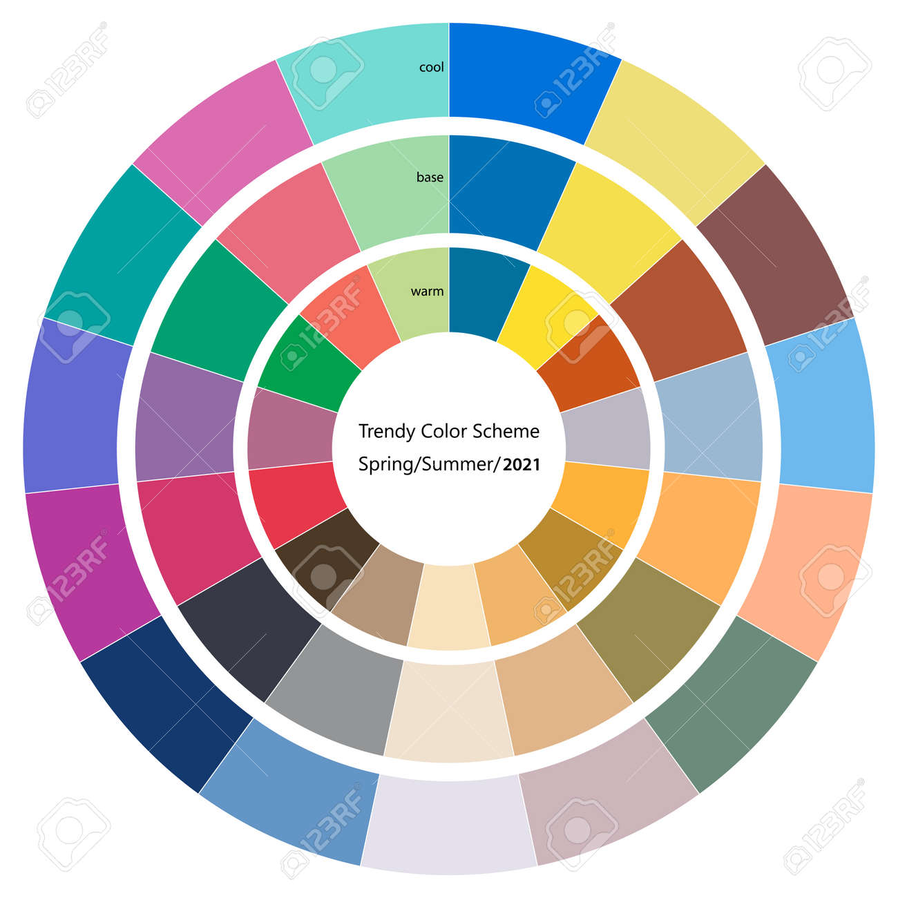 Trendy color wheel scheme for spring and summer season of 2021 - 156512592