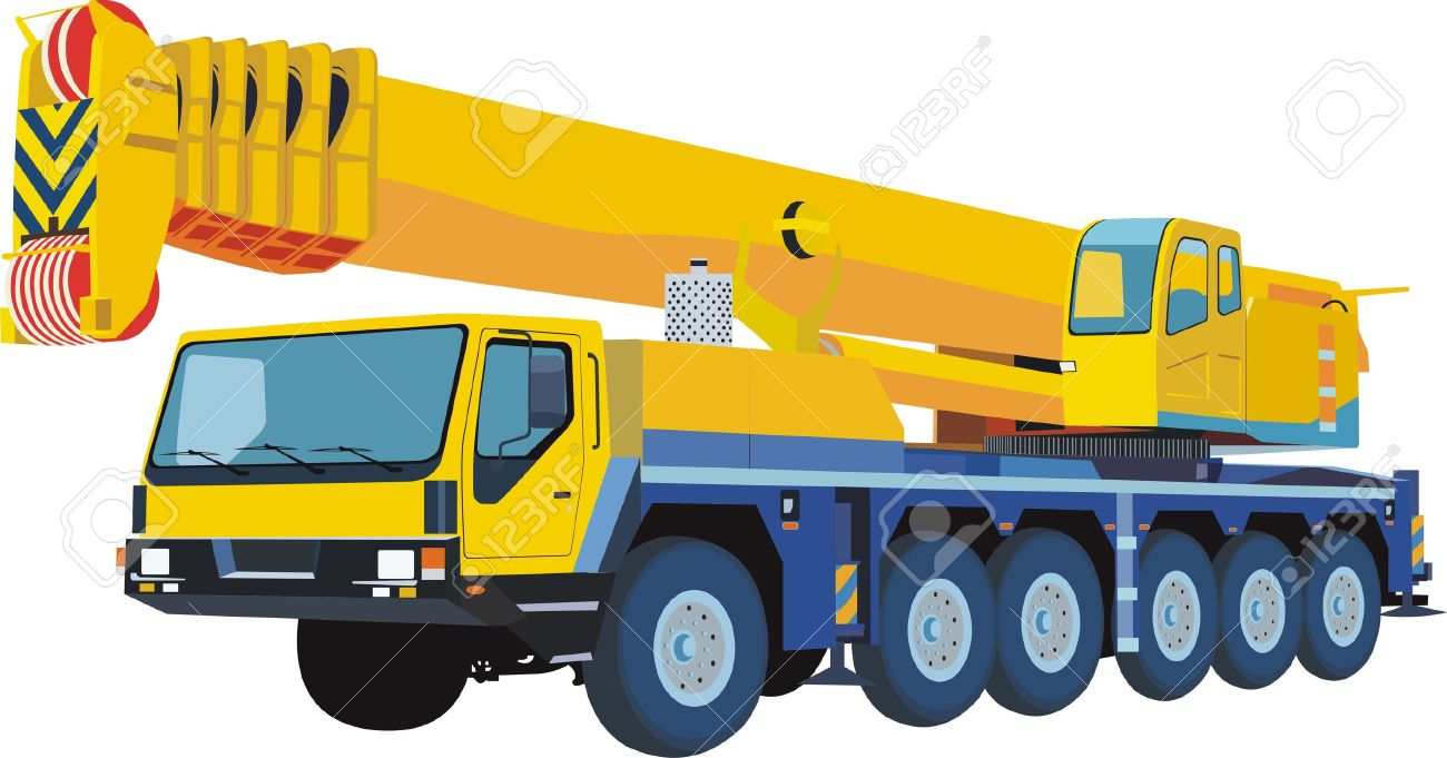 yellow mobile crane Stock Vector - 12920280