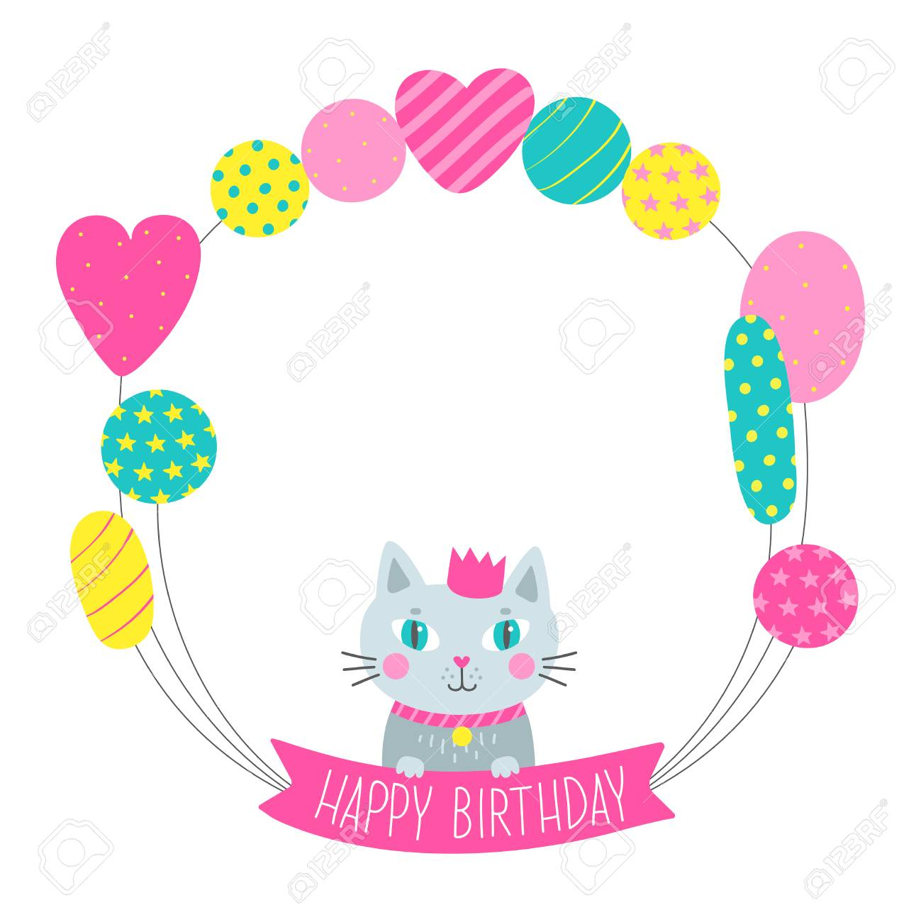 Greeting Card With Balloons And Cute Cat Vector Illustration For