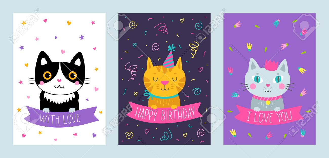 Vector Set Of Cute Greeting Cards With Cat Handdrawn Illustrations