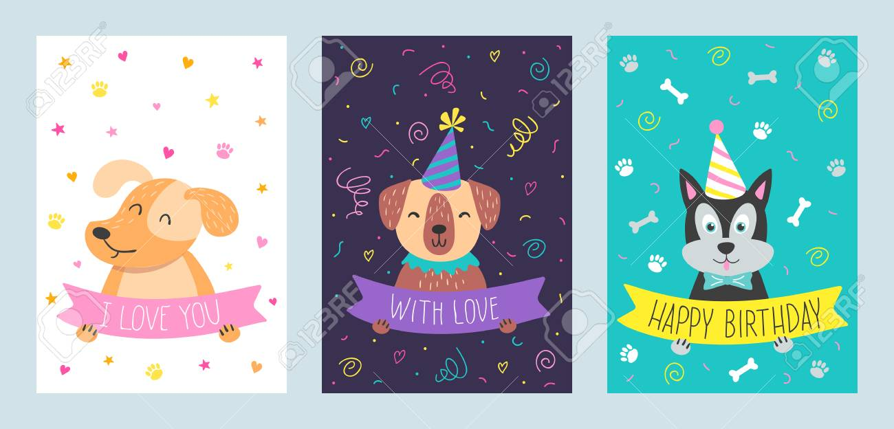 Vector Set Of Cute Greeting Cards With Dog Handdrawn Illustrations