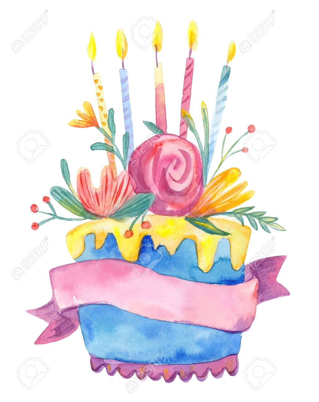Watercolor Birthday Cake With Flowers And Candles Isolated On