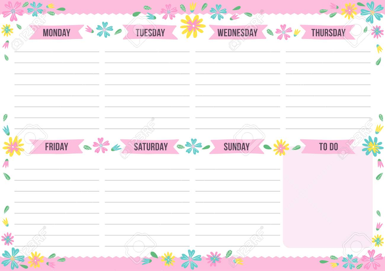 photograph about Cute Weekly Planners named Lovable weekly planner with drawn flower. Template with vacation spot for..