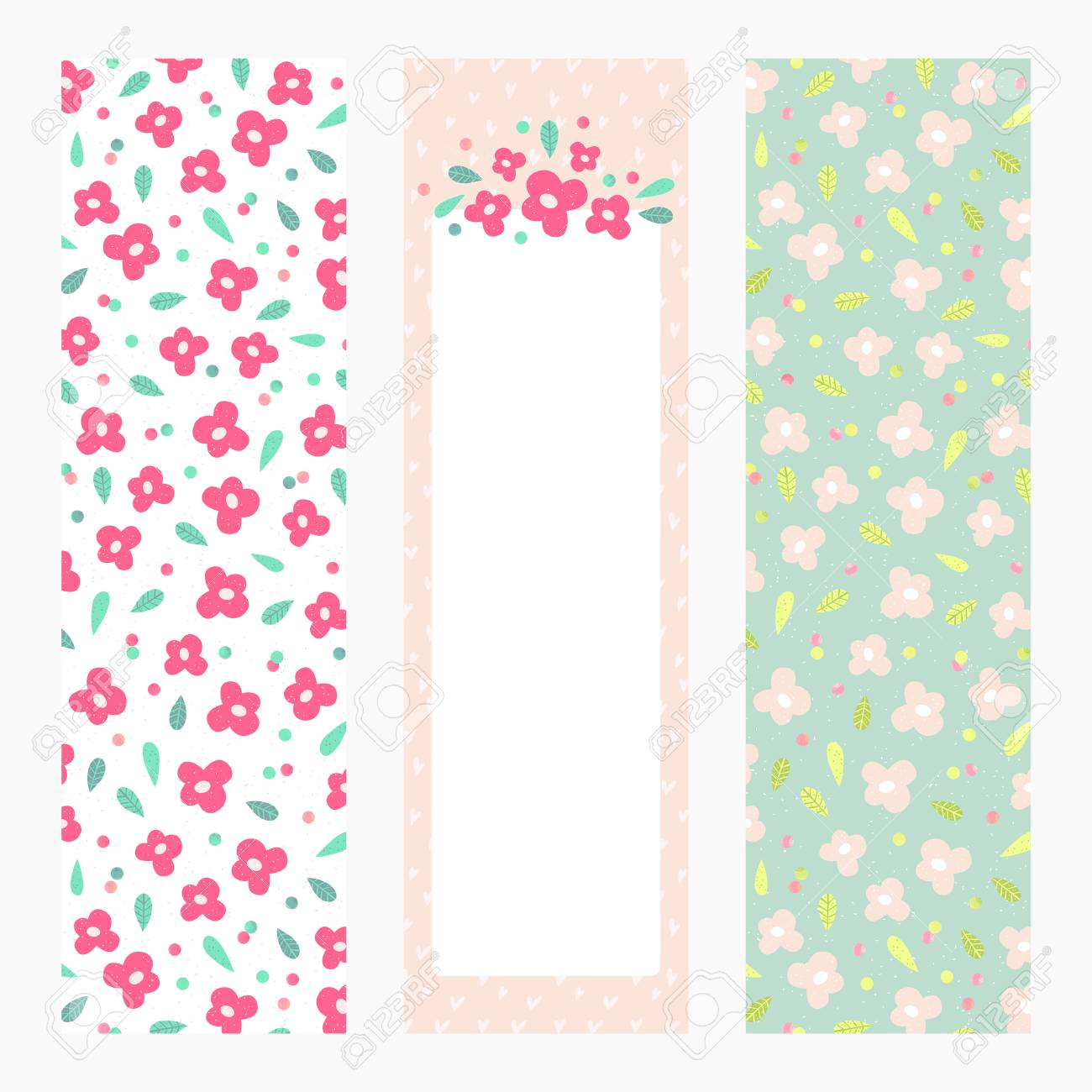 graphic regarding Bookmarks Printable identified as Printable bookmarks or banners with small bouquets upon pastel..