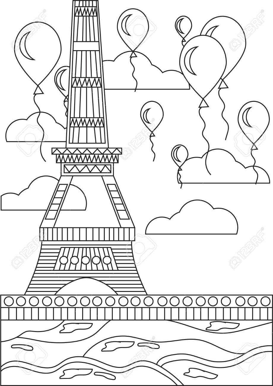 - Black And White Coloring Page Eiffel Tower Royalty Free Cliparts