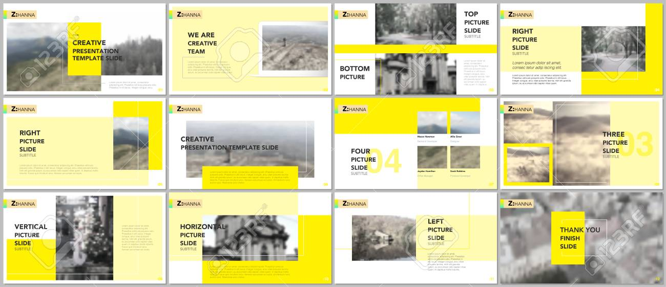 clean and minimal presentation templates. yellow elements on, Minimal Presentation Template, Presentation templates