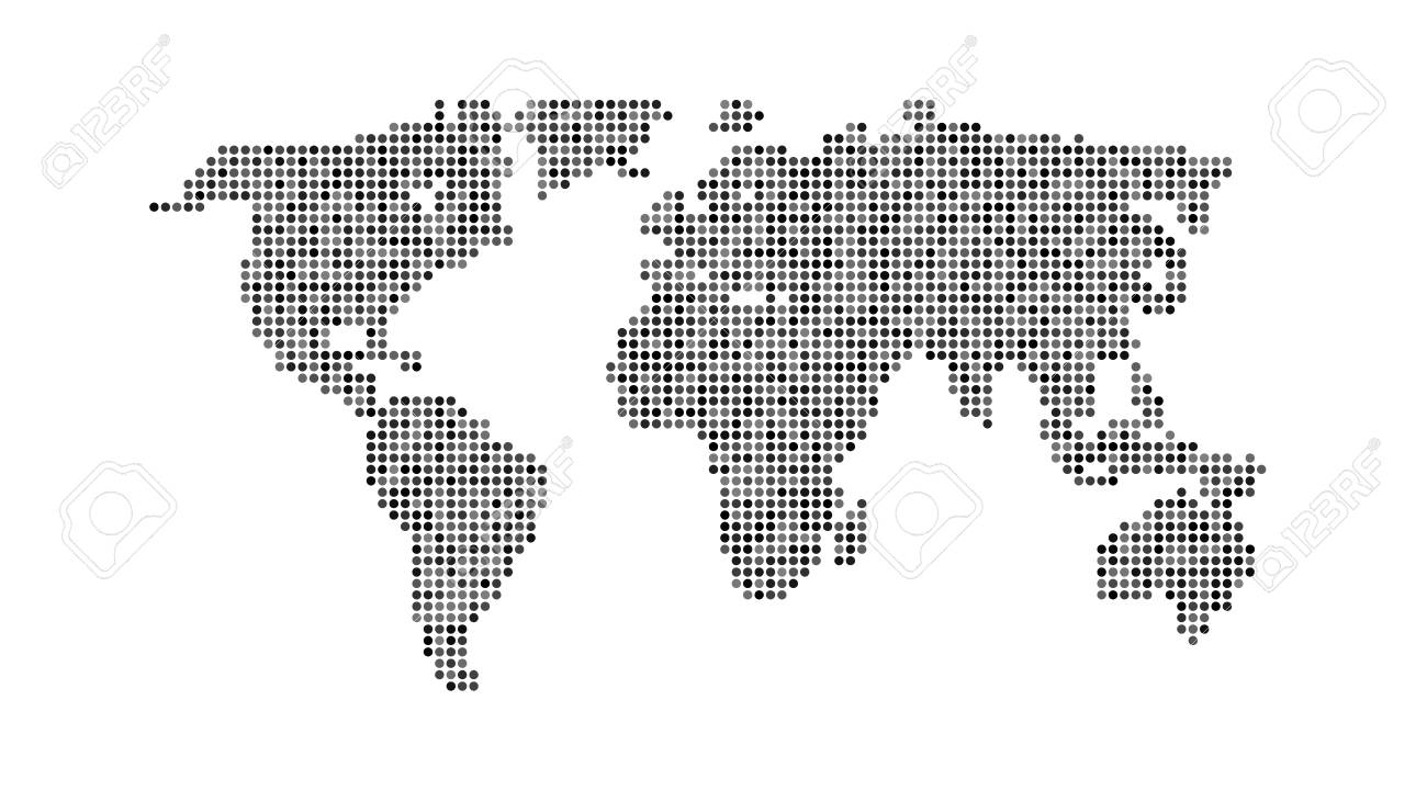 Black color world map isolated on white background abstract dotted black color world map isolated on white background abstract dotted flat template with dots for gumiabroncs Images
