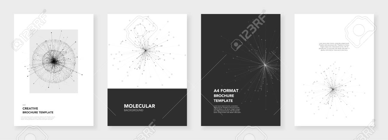 Minimal Brochure Templates Molecule Models On White Background