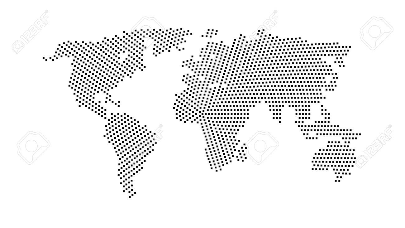 Black color world map isolated on white background abstract stock black color world map isolated on white background abstract flat template with rectangles for web gumiabroncs Choice Image