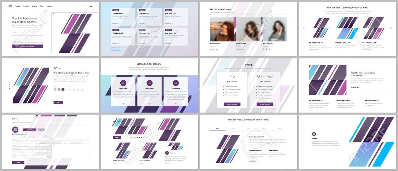 set of vector templates for website design minimal presentations