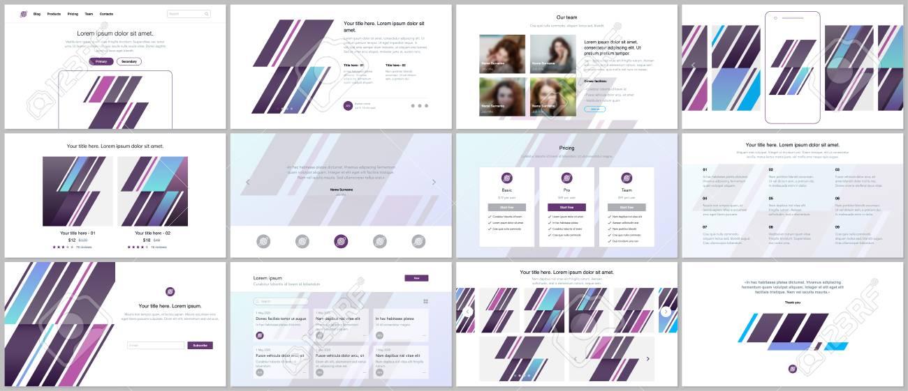 Set of vector templates for website design, minimal presentations,