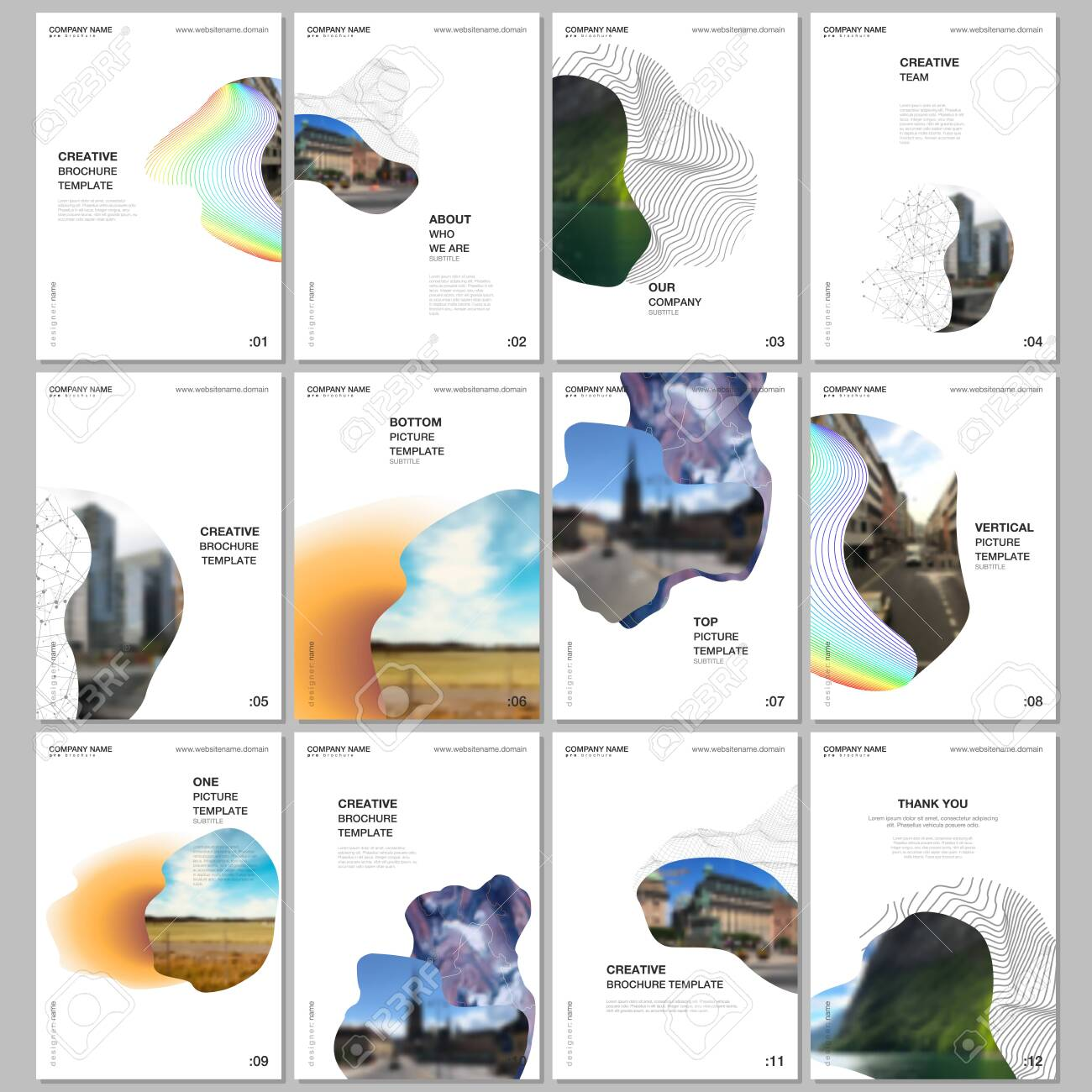 A4 brochure layout of covers design templates for flyer leaflet, A4 format brochure design, report, presentation, magazine cover, book design. Simple minimal background with geometric curved shapes. - 144572215