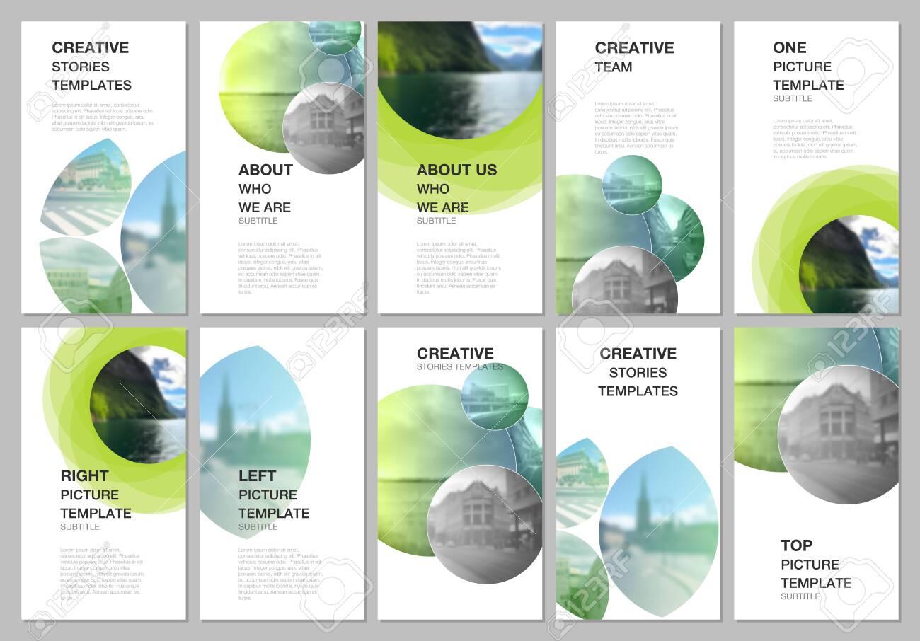 Social networks stories design, vertical banner or flyer templates. Covers design templates for flyer, leaflet, brochure cover, presentation, advertising . Abstract green fresh fluid geometric design. - 146068030