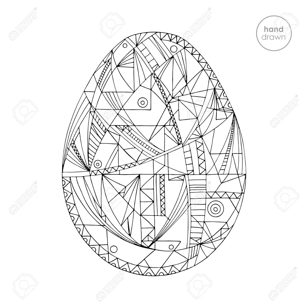 Easter Eggs Vector Illustration In Modern Style. Hand Drawn Abstract ...