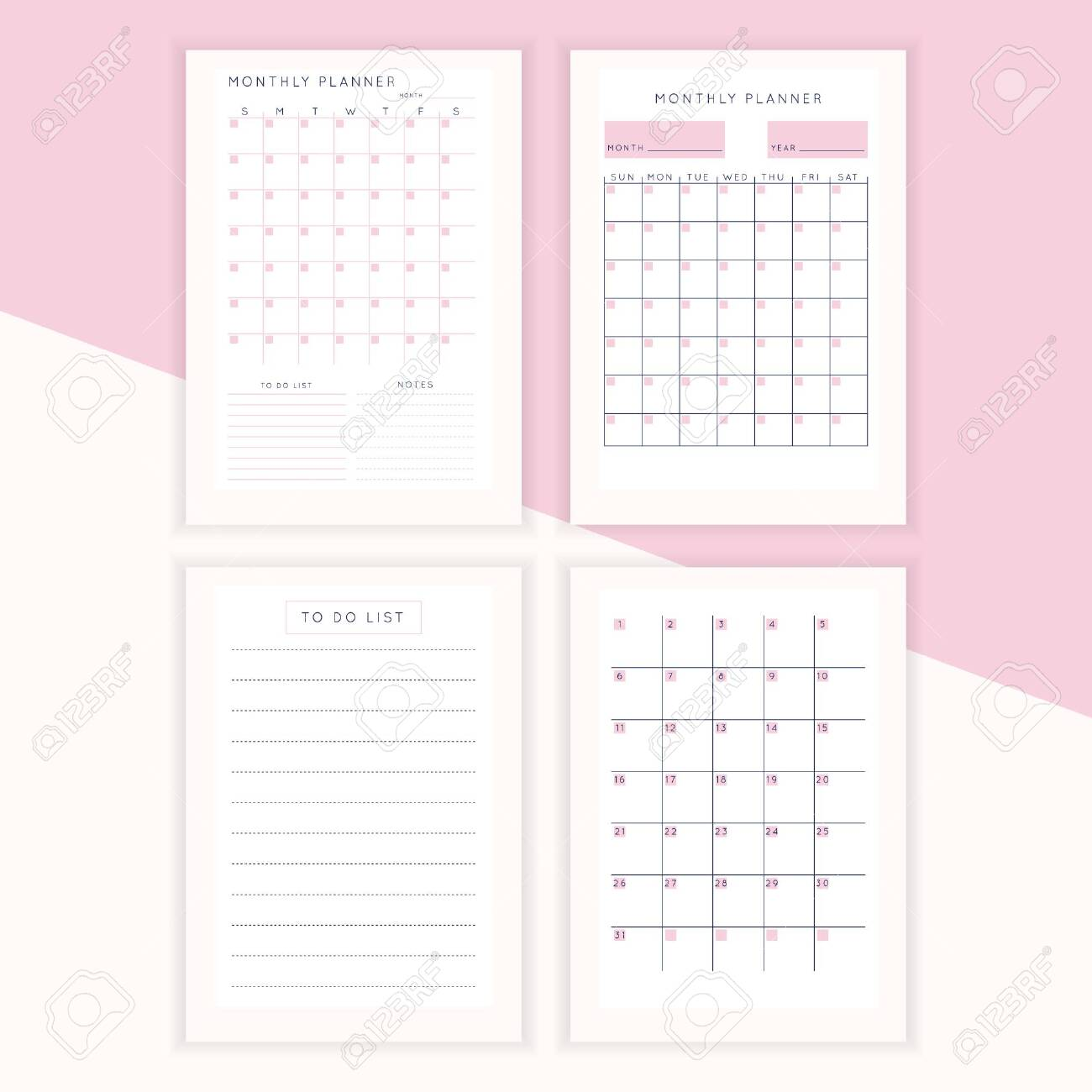 Set Of Minimalist Abstract Planners Daily Weekly Monthly Planner Royalty Free Cliparts Vectors And Stock Illustration Image 136811022