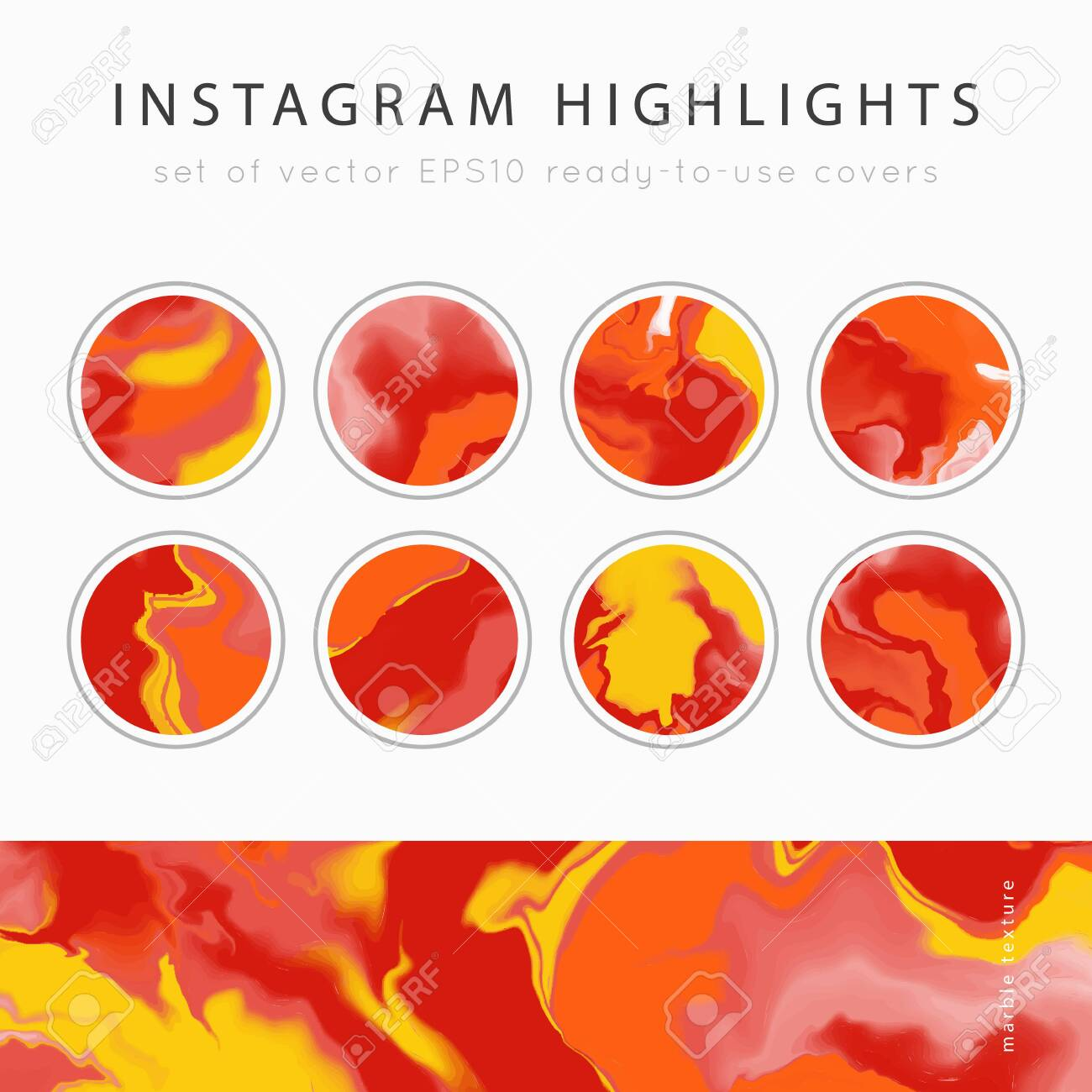 Instagram Highlight Covers Background Templates Set Of Marble Royalty Free Cliparts Vectors And Stock Illustration Image 136819921