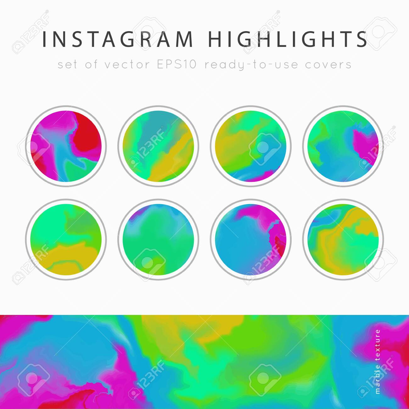 Instagram Highlight Covers Background Templates Set Of Marble Royalty Free Cliparts Vectors And Stock Illustration Image 136819681