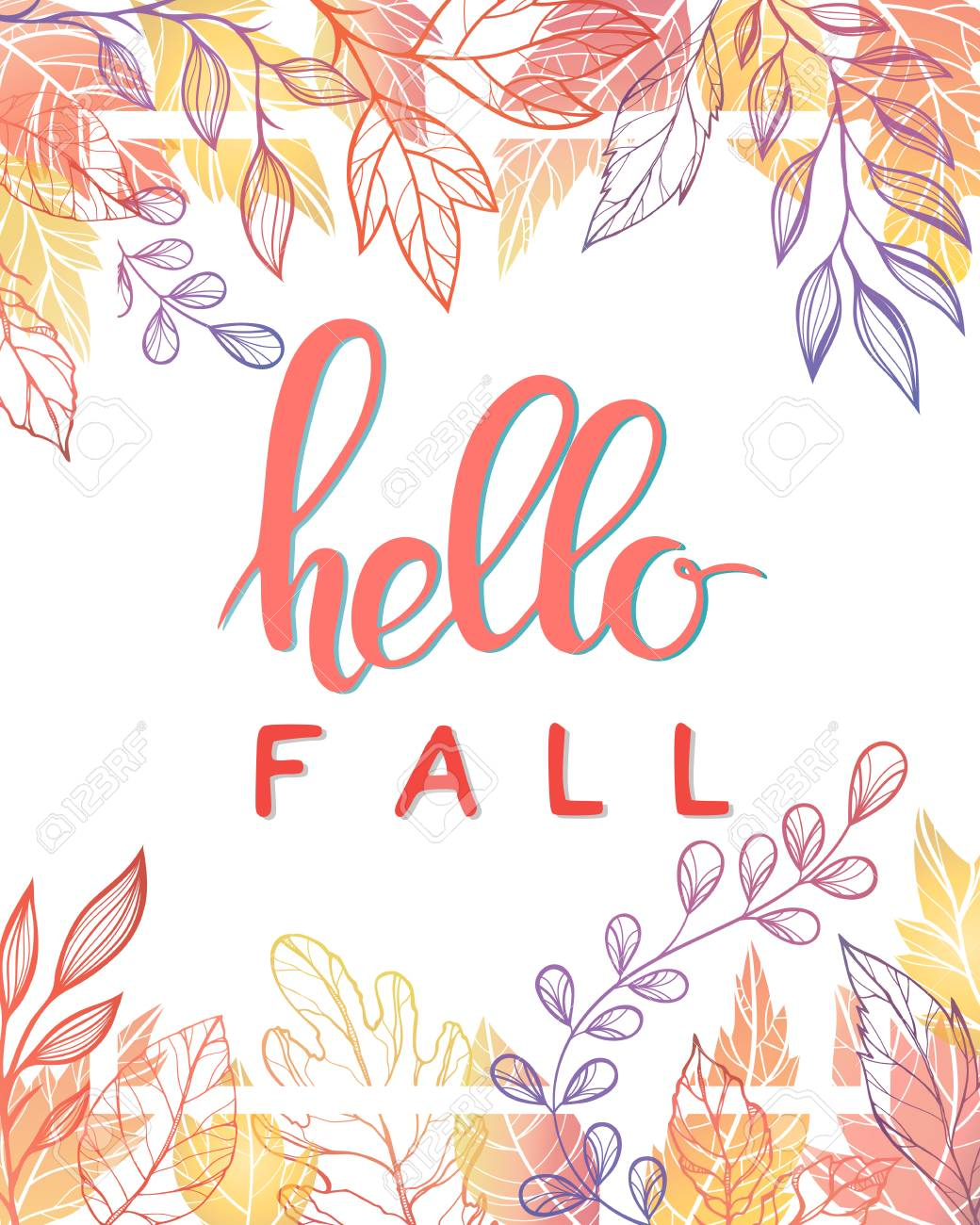 Charming Autumn Card Hello Fall. Hand Painted Lettering With Stylized Leaves In Fall  Colors. Design