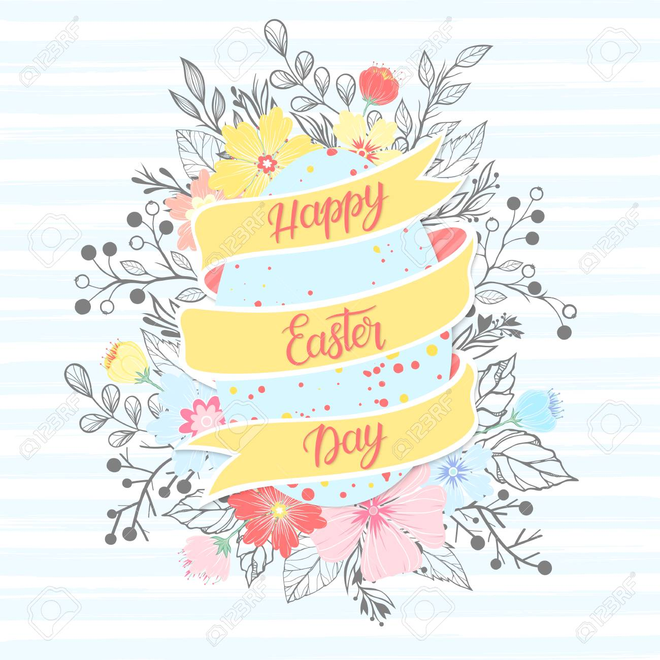 Easter Typographyhappy Easter Day Lettering With Colorful Egg