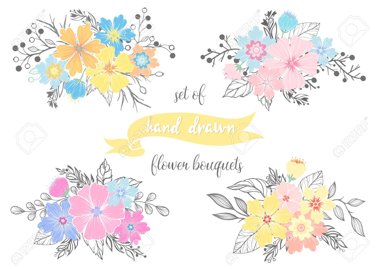 Set Of Hand Drawn Flower Bouquets With Different Floral Elements