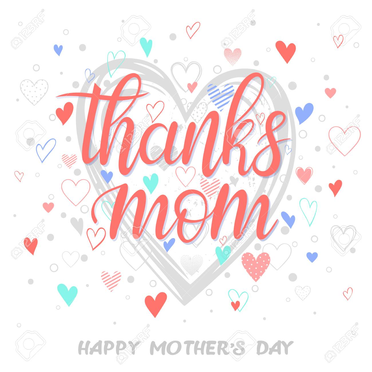 Happy mothers day typographyanks mom hand painted lettering happy mothers day typographyanks mom hand painted lettering with different heartseeting m4hsunfo
