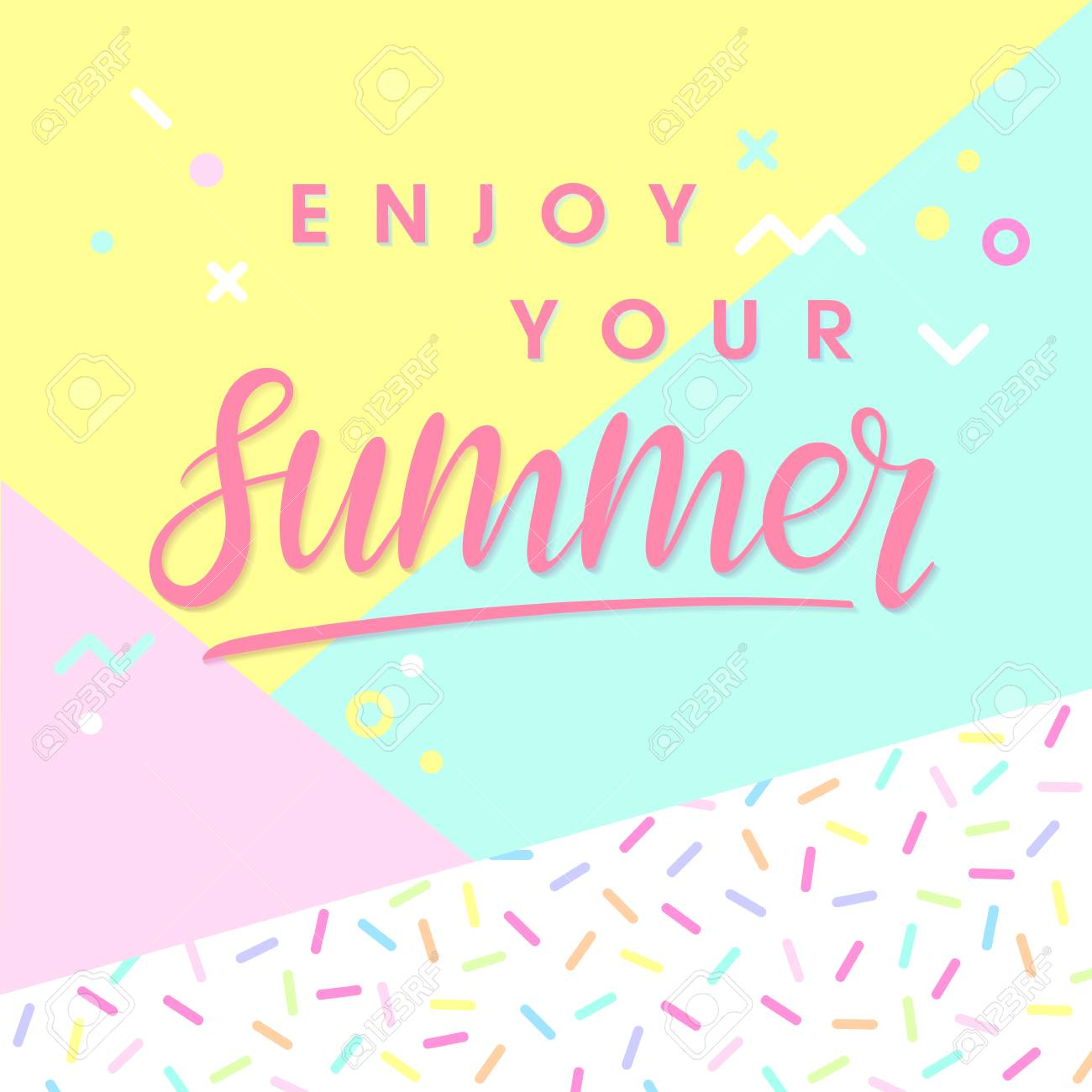 hand drawn lettering enjoy your summer with bright background
