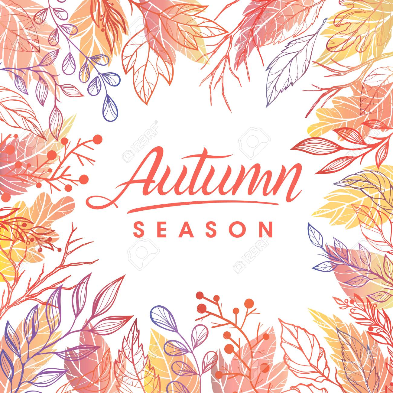 Autumn seasonhand drawn lettering with leaves in fall colors autumn seasonhand drawn lettering with leaves in fall colorsasons greetings card perfect m4hsunfo