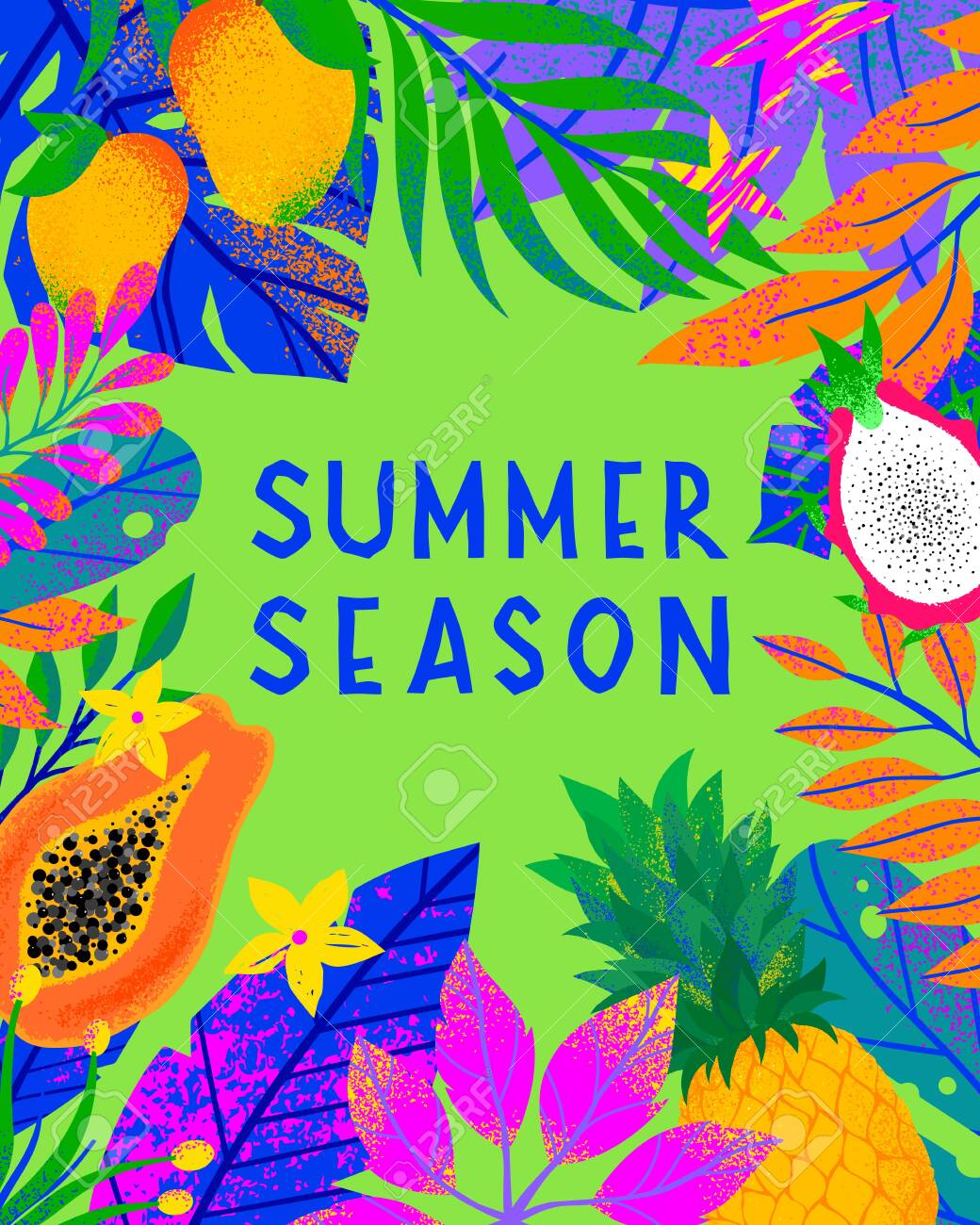 Summer vector illustration with bright tropical leaves,exotic fruits and flowers.Multicolor plants with hand drawn texture.Exotic background perfect for prints,flyers,banners,invitations,social media. - 128360833