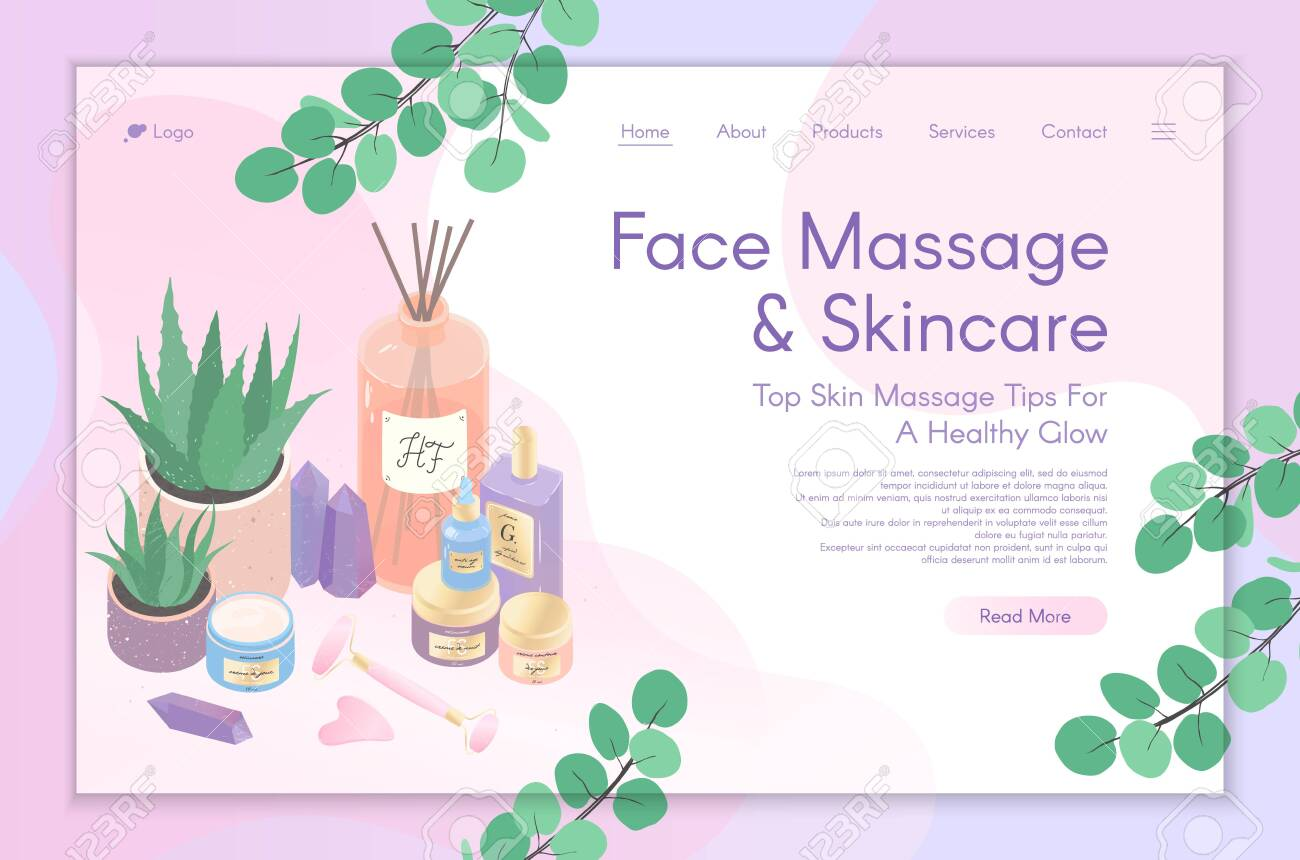 Web Page Design Template For Skin Care Treatment Face Massage Royalty Free Cliparts Vectors And Stock Illustration Image 137801203