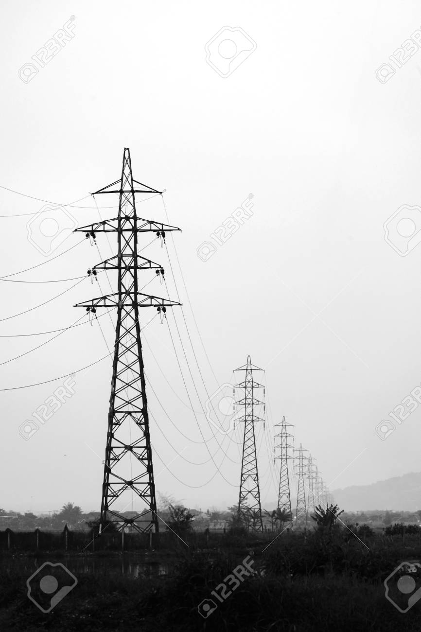 Transmission Tower Electricity Pylon Or A Power Pylon Standing Stock Photo Picture And Royalty Free Image Image 66720785