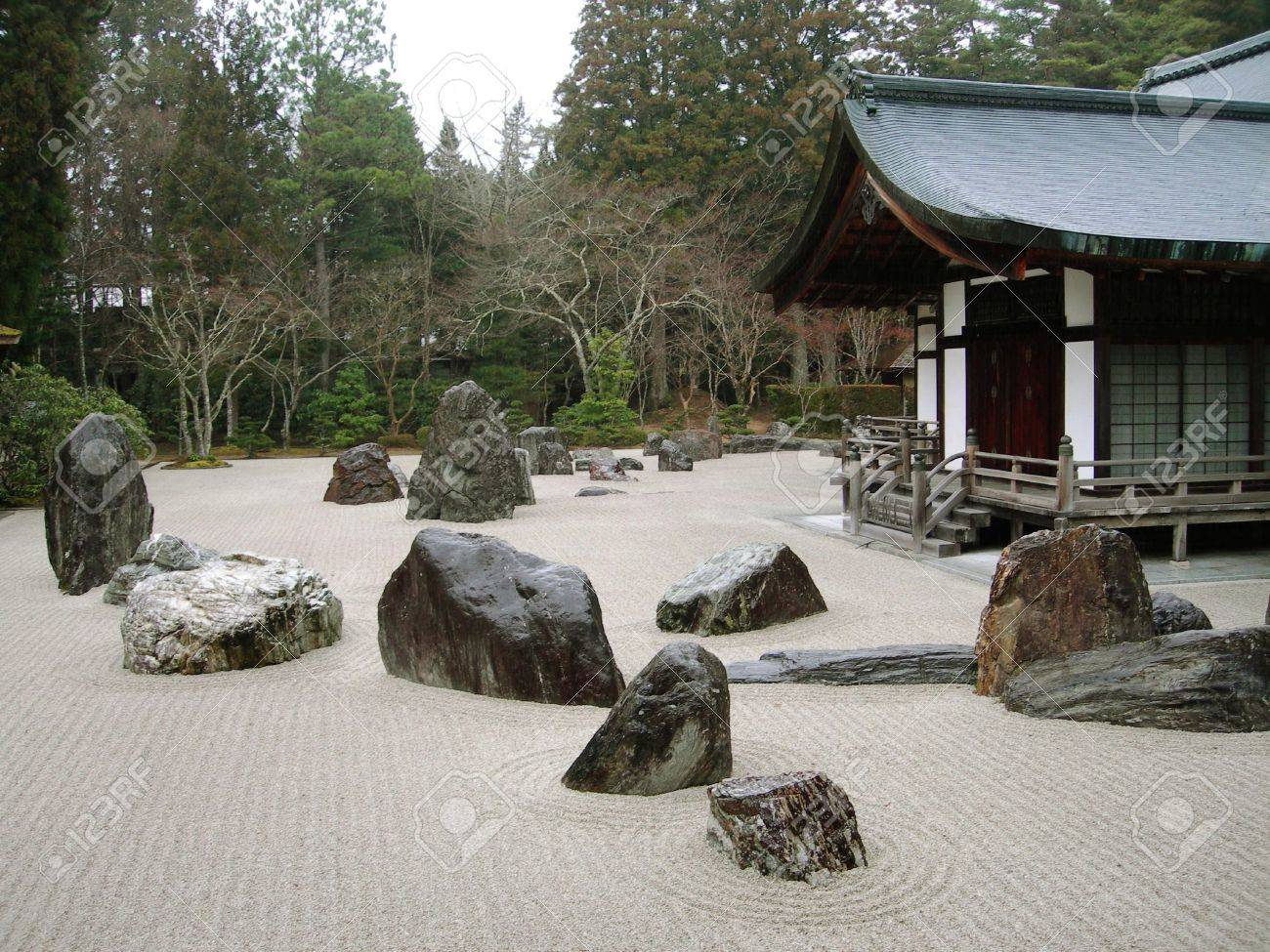 A Traditional Buddhist Rock Garden In Koya San, Japan Stock Photo   7000959