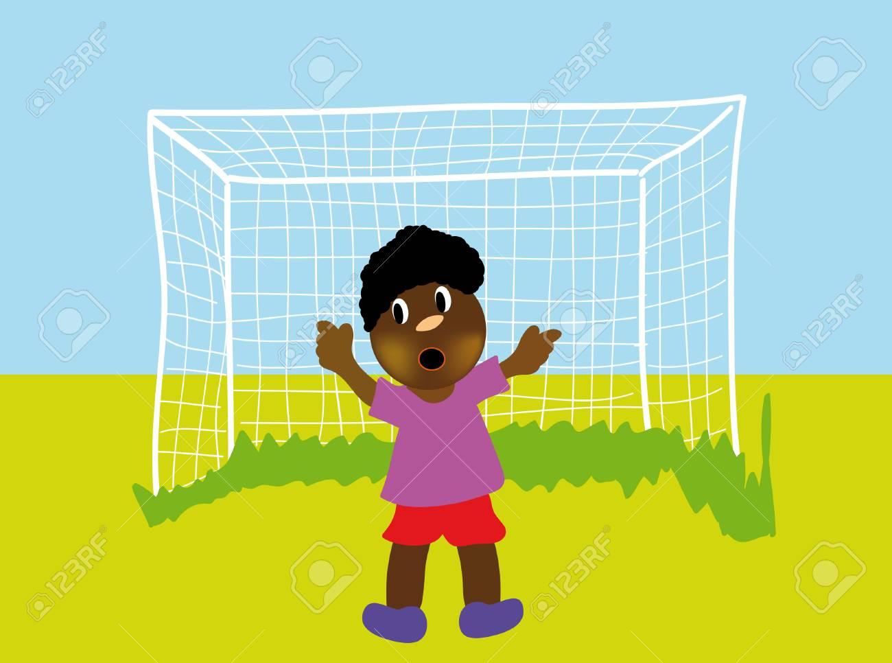 nice illustration of happy boy plaing football isolated on white background Stock Vector - 5941224