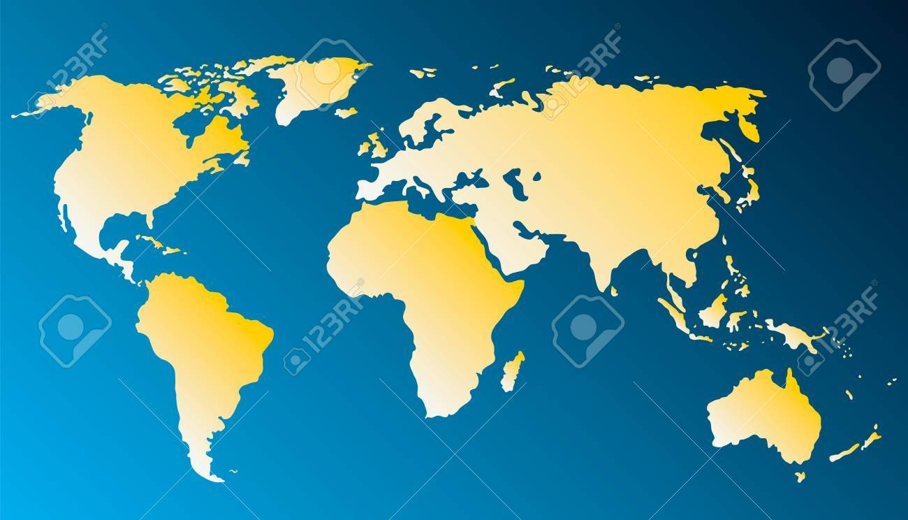 world map with yellow continents isolated on blue background Stock Vector - 7422146