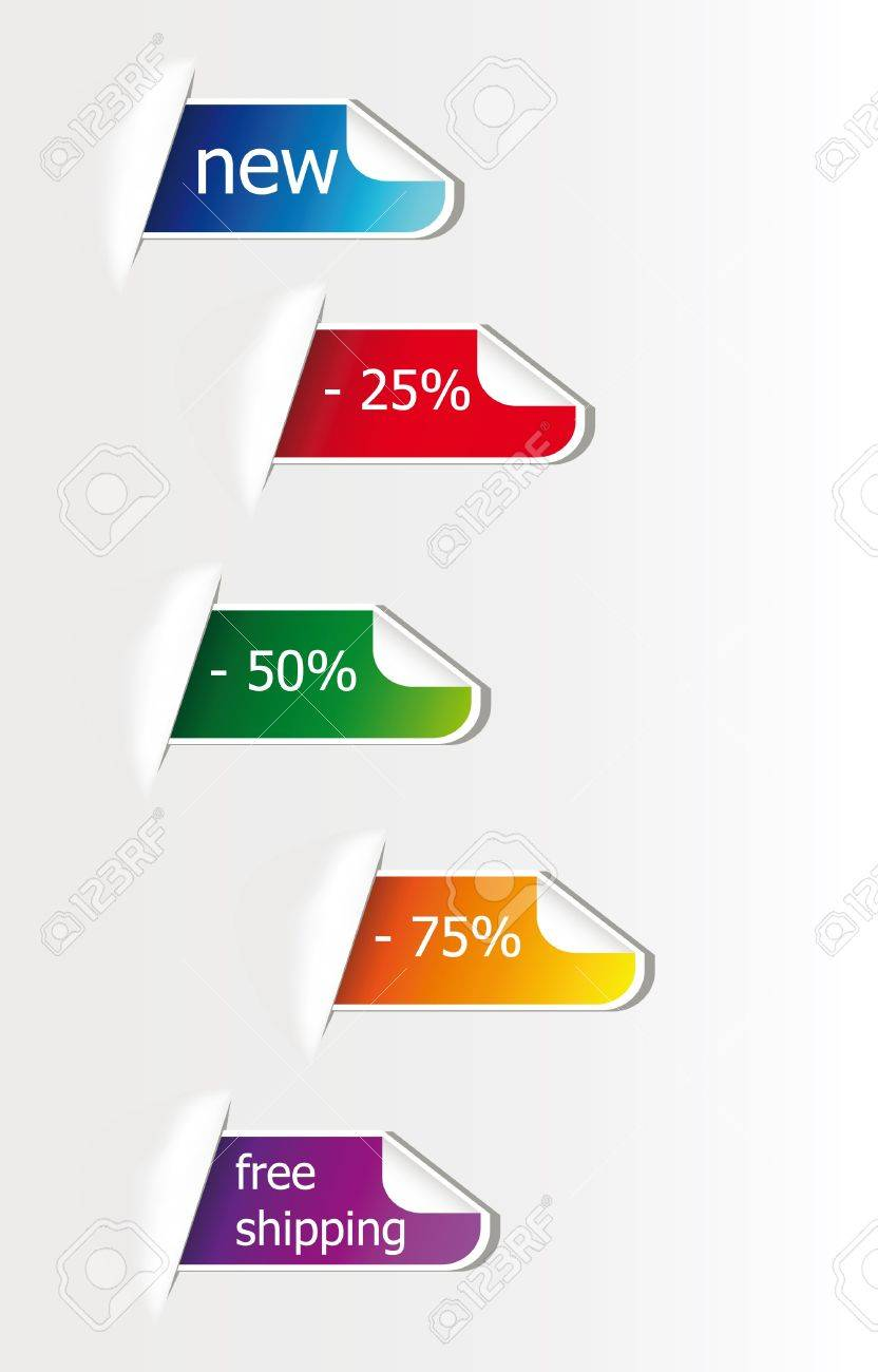 colorful advertising sticker isolated over white background, you can put here your own text Stock Vector - 9753784
