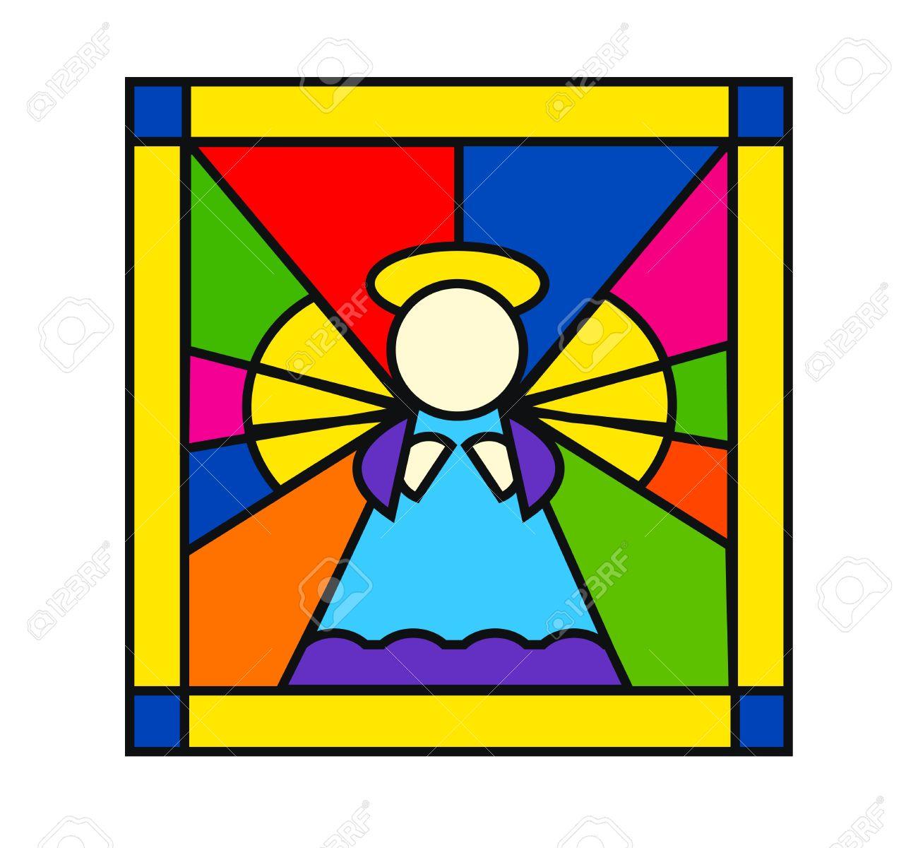 Glas In Lood Engels.Mooie Illustratie Van Engel In Glas In Lood Gea Soleerd Op Een Witte