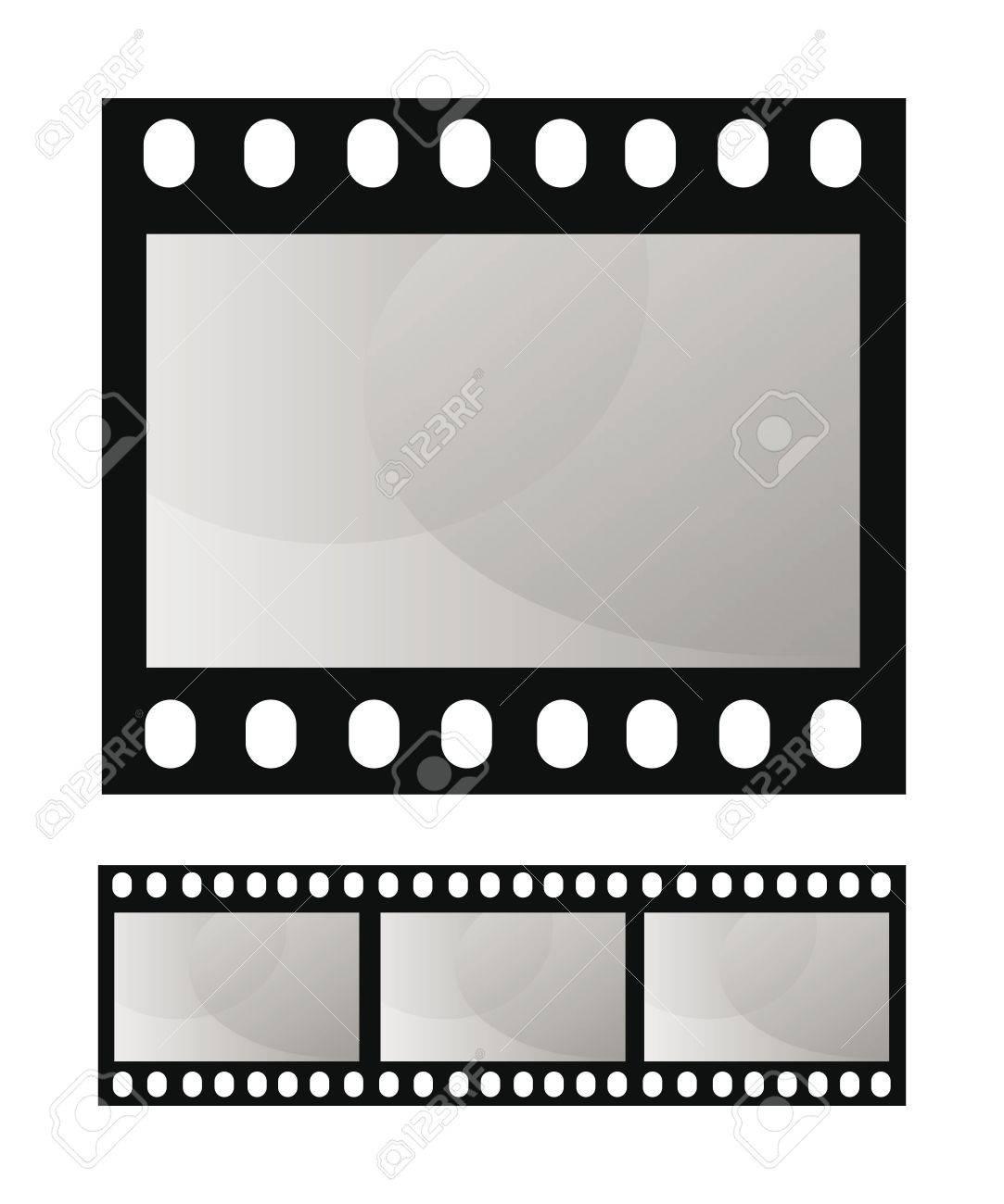 Vektor Vorlage Foto Film Frame über Weißem Hintergrund Lizenzfrei
