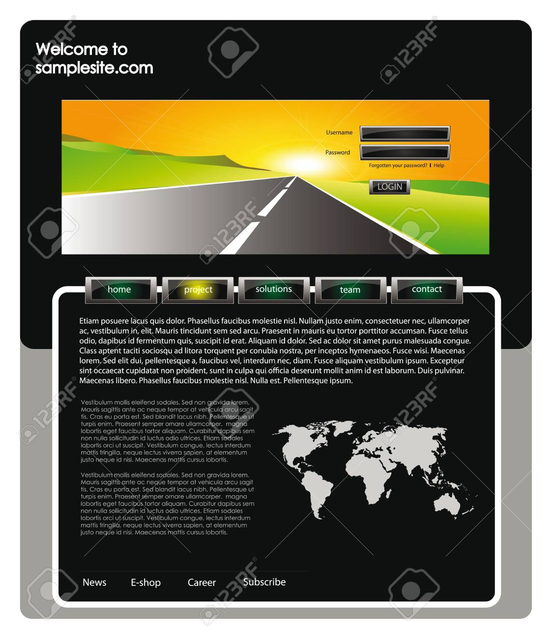 Vector web site for company webdesign with landscape header vector web site for company webdesign with landscape header world map and glossy buttons stock gumiabroncs Images