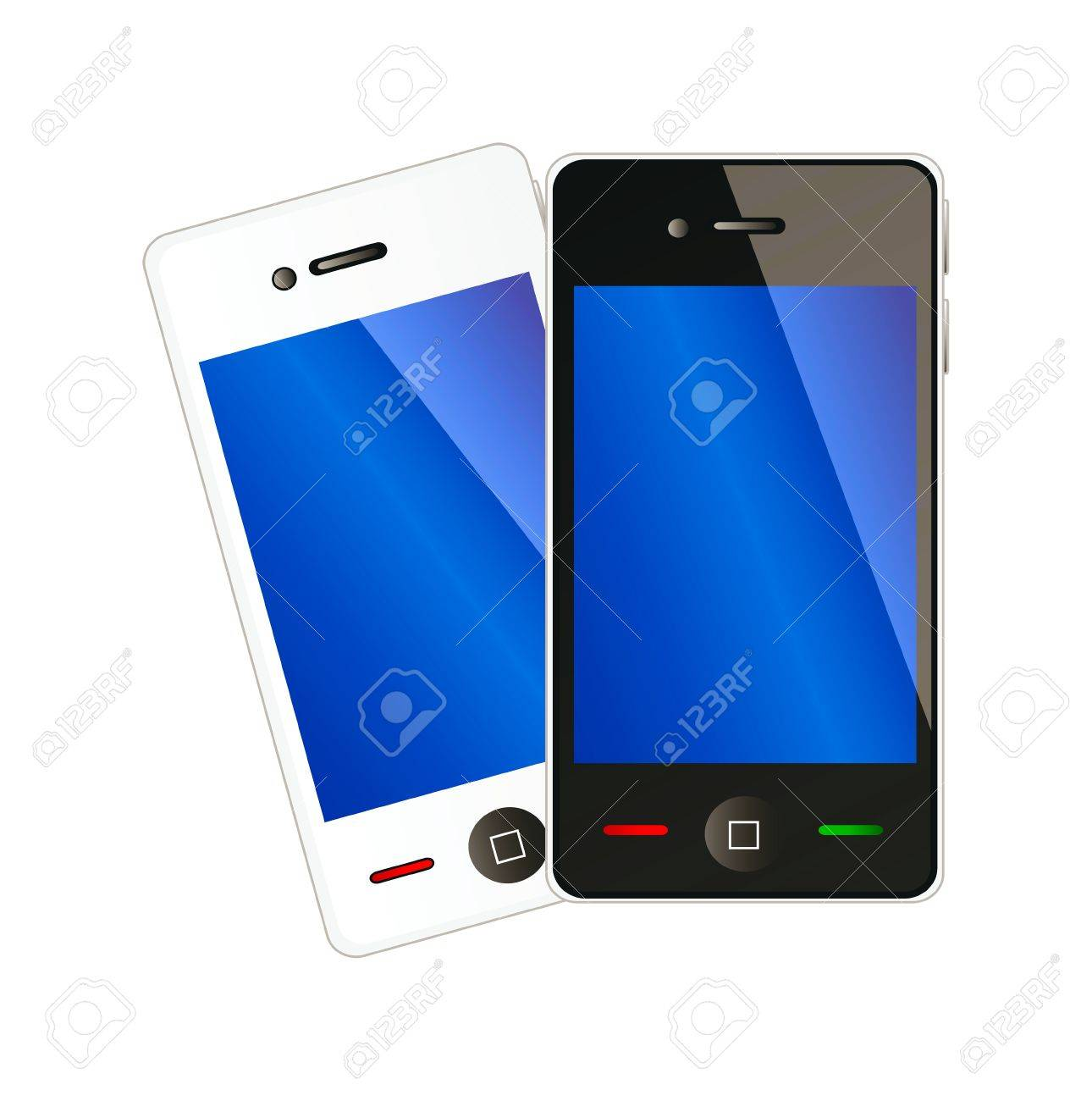 Two vector mobile phones with blue display in white and black color isolation over white background Stock Vector - 11423465