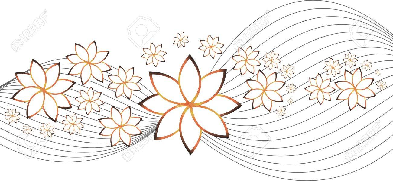 background with flowers and waves isolation over white Stock Vector - 14080216