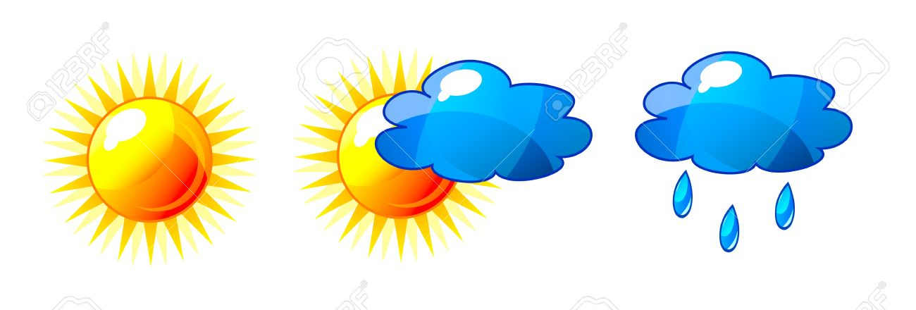 Abstract shiny sun and cloud icons with reflection. Isolation over white background. Stock Vector - 14199964