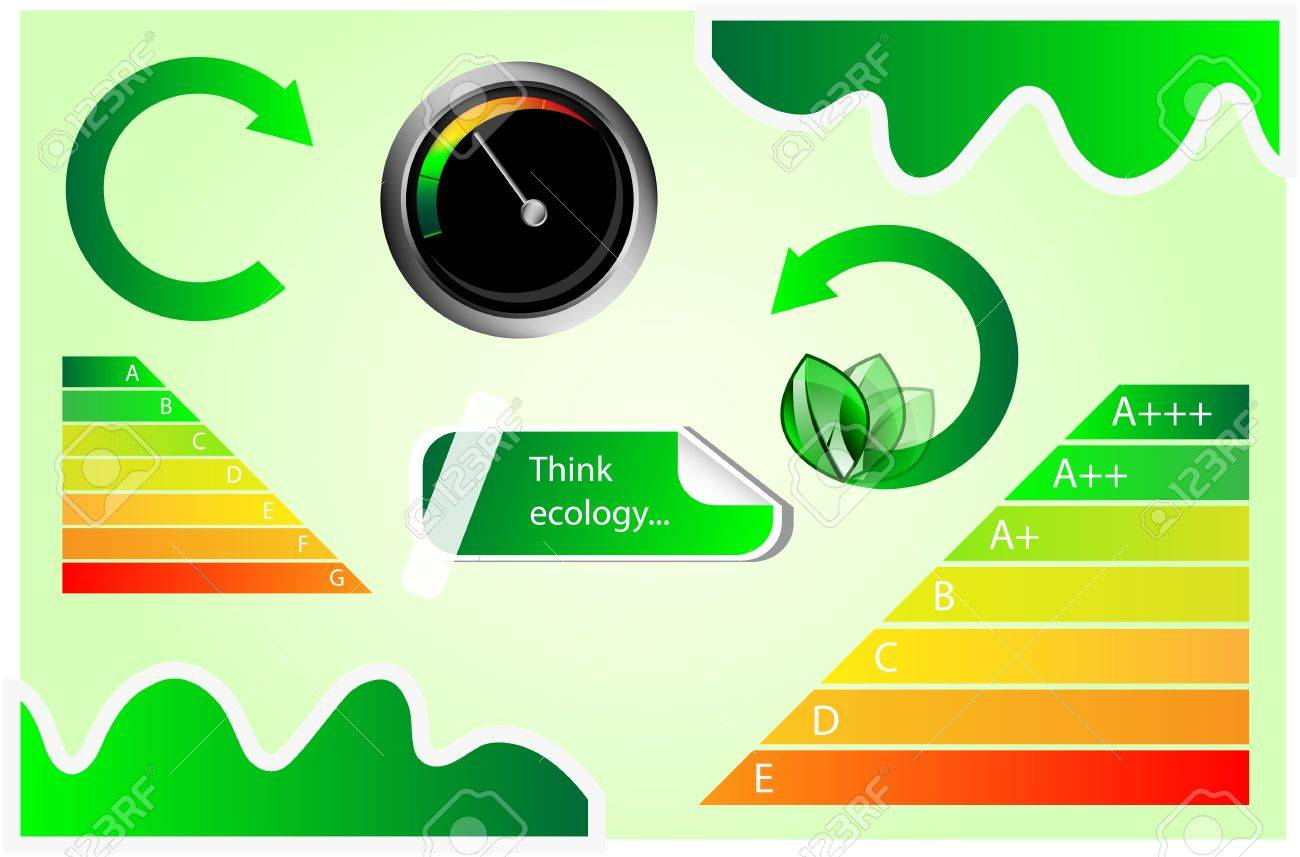 Vector icons with energy and eco motives  Energy chart, tachometer, banner Stock Vector - 17415120