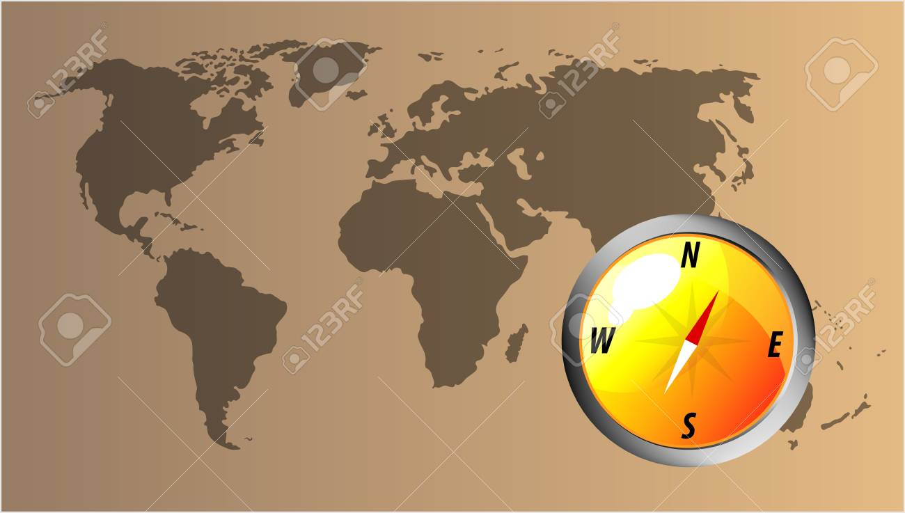 Map Of The World With Compass.Vector Glossy Orange Compass With Map Of The World Royalty Free