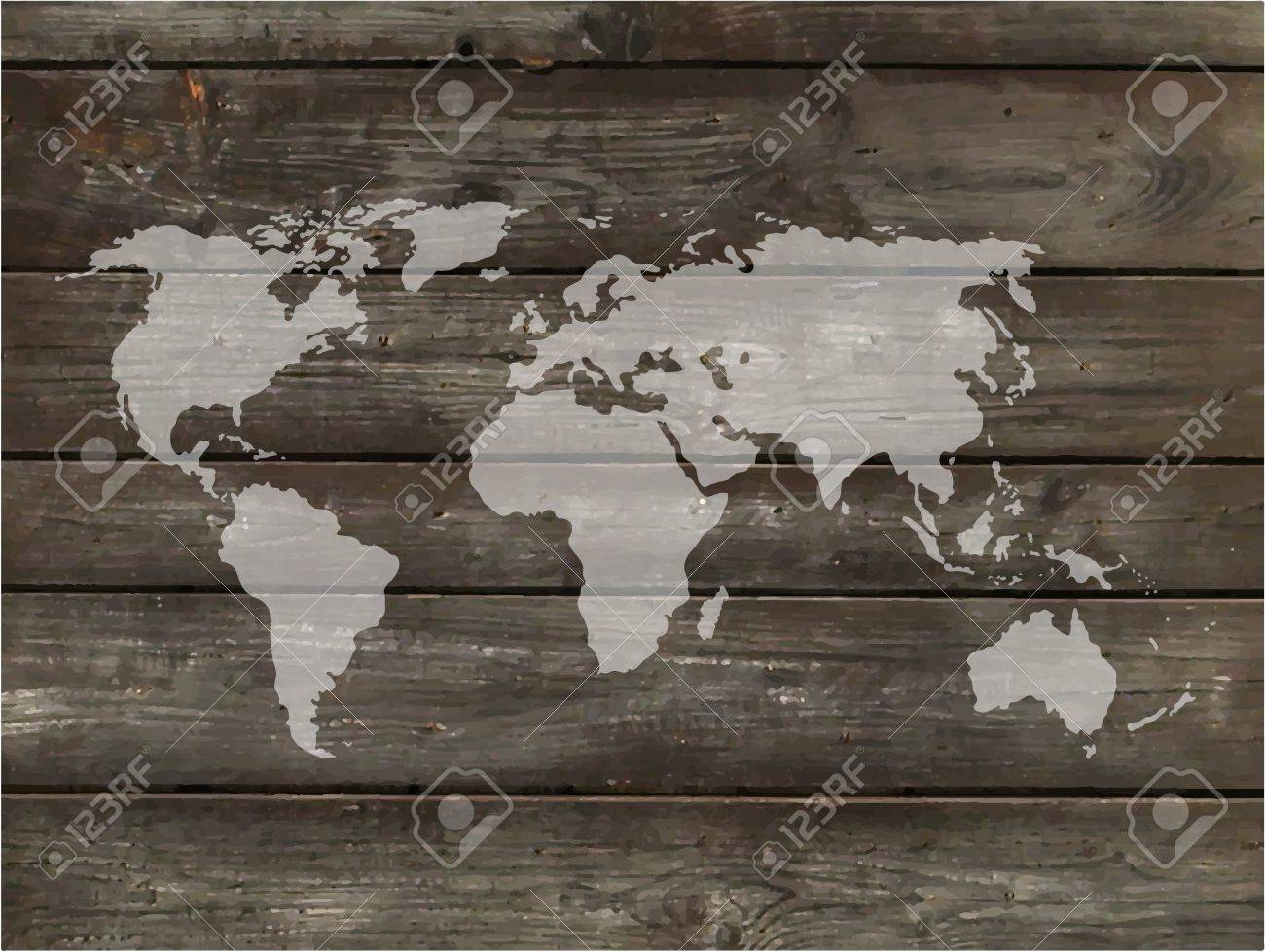 Vector world map with wood background. Clear map and brown wooden..