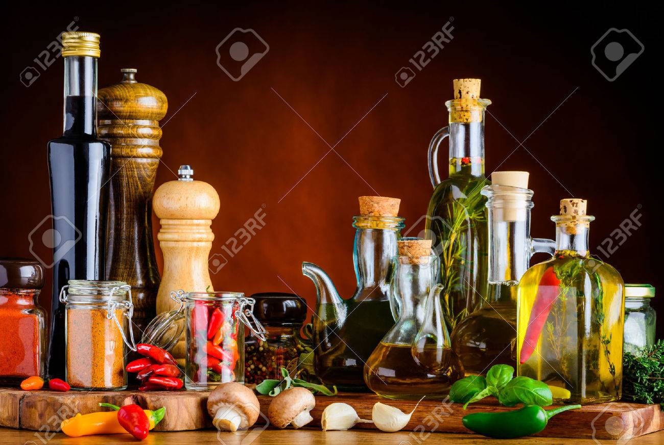 Food Seasoning, Spices, oil, balsamic vinegar and other cooking-condiments - 54079555