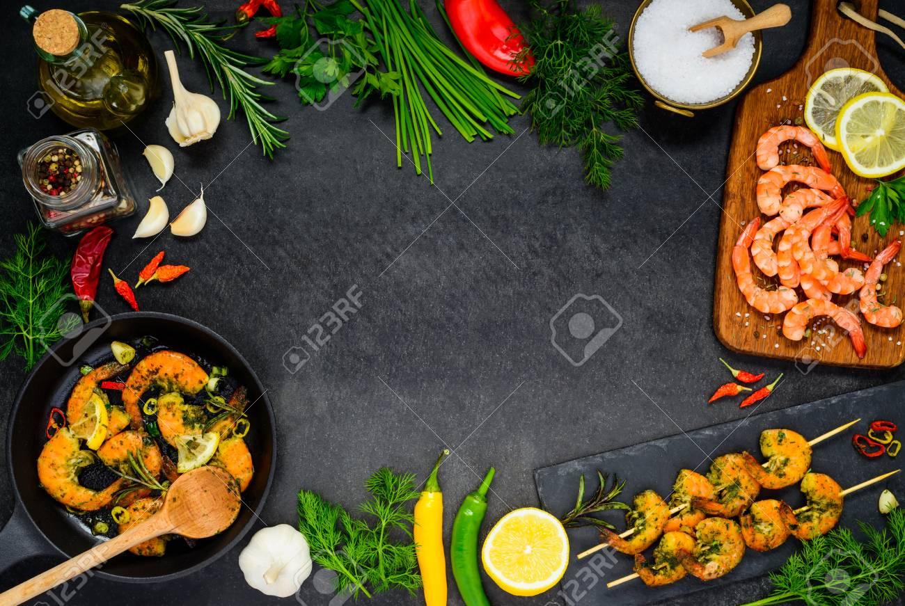 Cocinar Langostinos | Camarones Y Langostinos Cocinar Mariscos Con Ingredientes Y Espacio