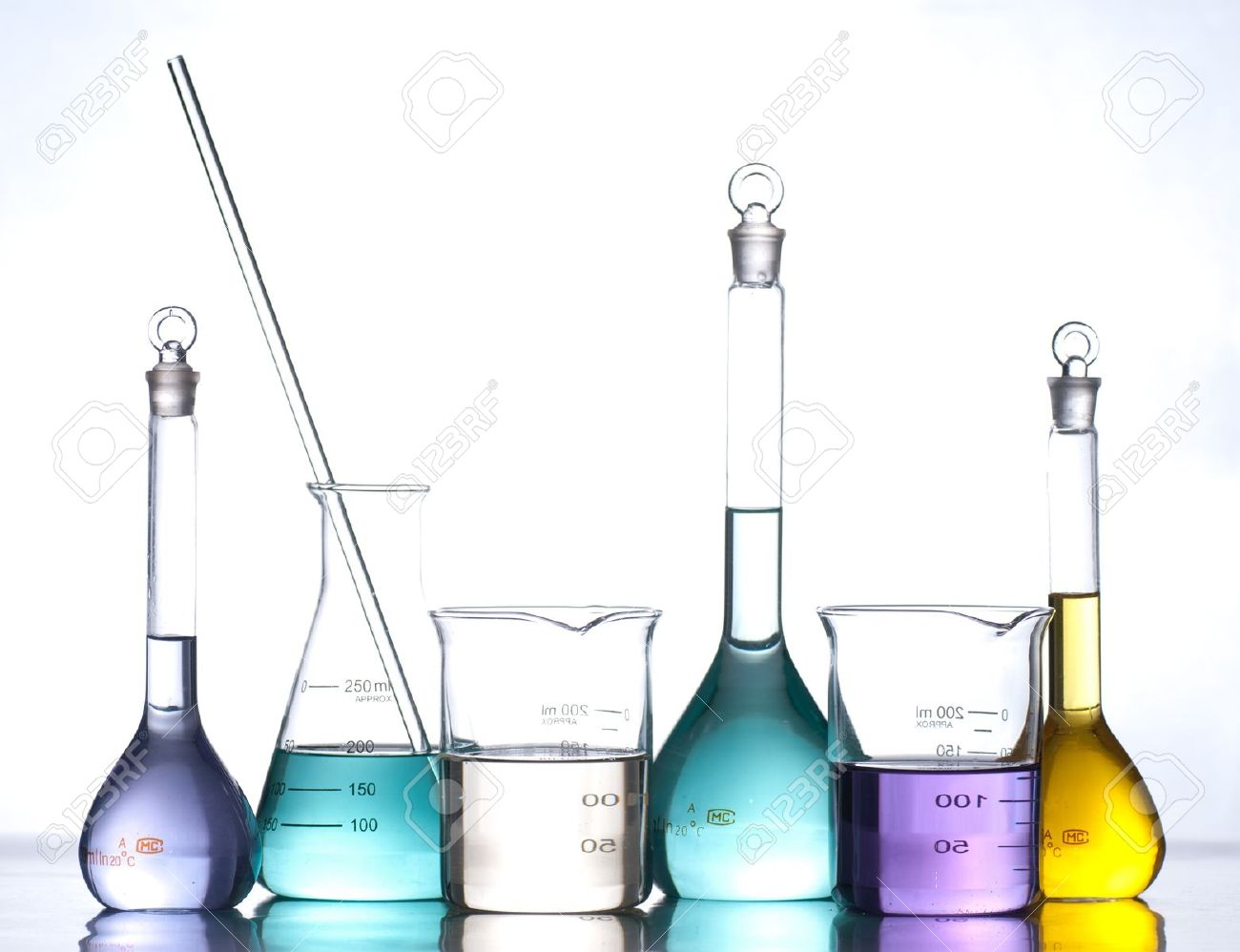 glass laboratory apparatus with color water stock photo picture and