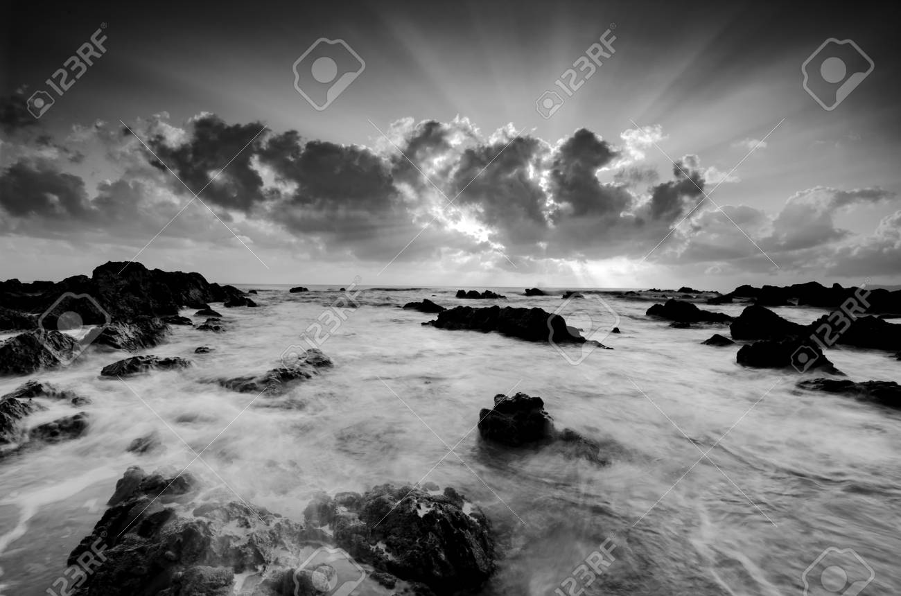 Black and white image beautiful morning scenery with stunning sunrise background unique rock formation