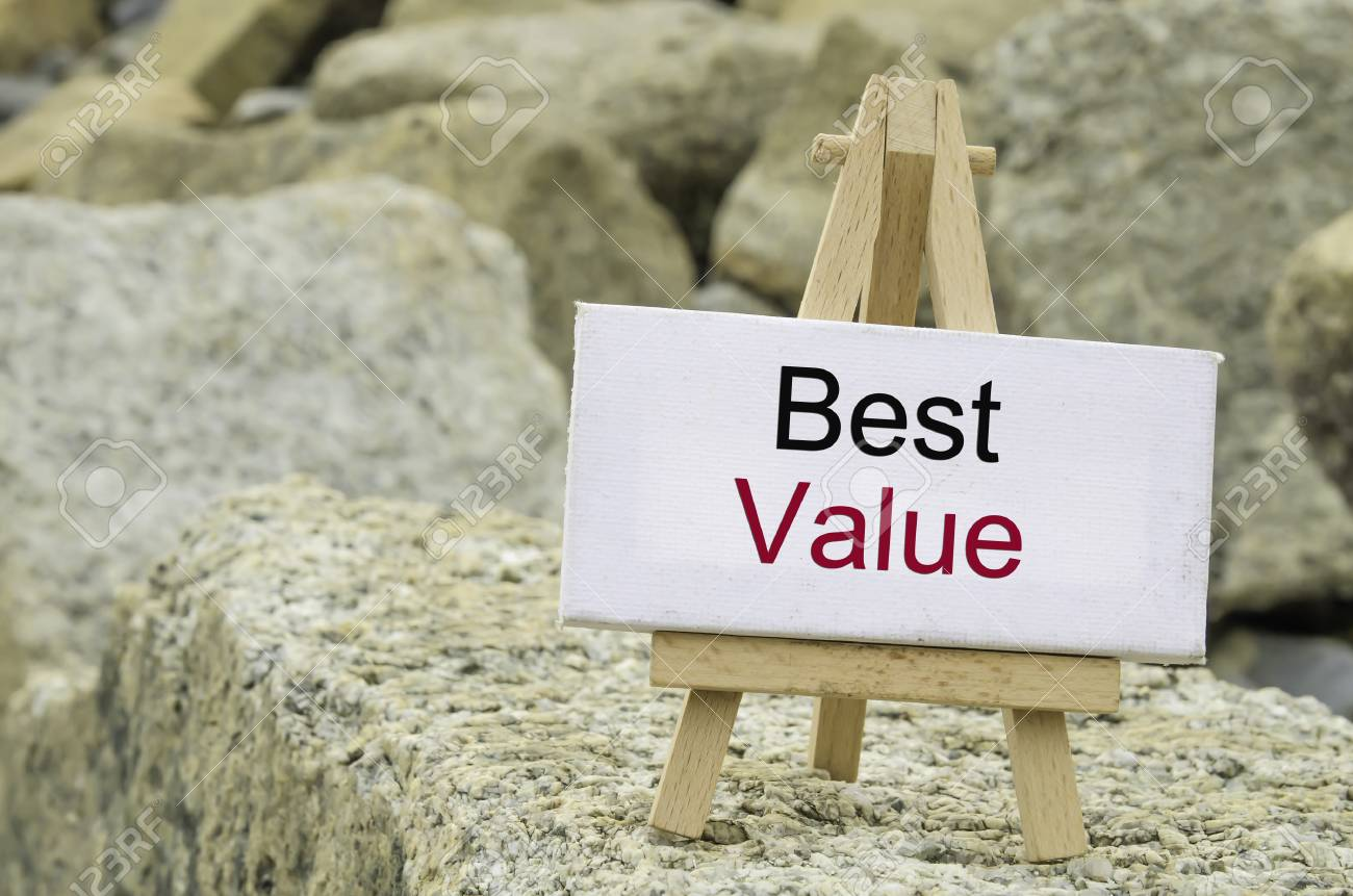 Conceptual Image Word Best Value On White Canvas Frame And Stock